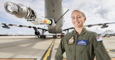 Royal Australian Air Force Air Refuelling Operator, Flight Lieutenant Ingrid Van Der Vlist, with the KC-30A MRTT. Photo by Corporal Jesse Kane.