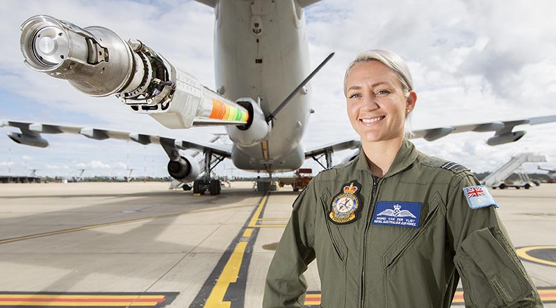 Royal Australian Air Force Air Refuelling Operator, Flight Lieutenant Ingrid Van Der Vlist, with the KC-30A MRTT. Photo by Corporal Jesse Kane.