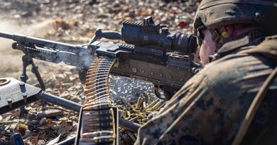 AUS Marine lays down supporting fire during Exercise Koolendong. US Marine Corps photo by Corporal Lydia Gordon.