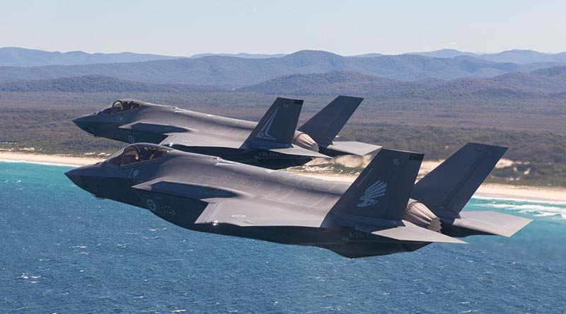 F-35A Lightning II aircraft fly in formation along the Newcastle-region coast in NSW during Exercise Lightning Storm. Photo by Sergeant David Gibbs.
