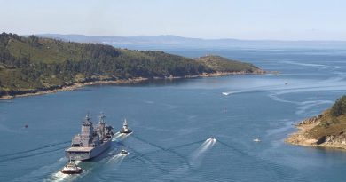 NUSHIP Supply departs Ferrol, Spain. Navantia photo.