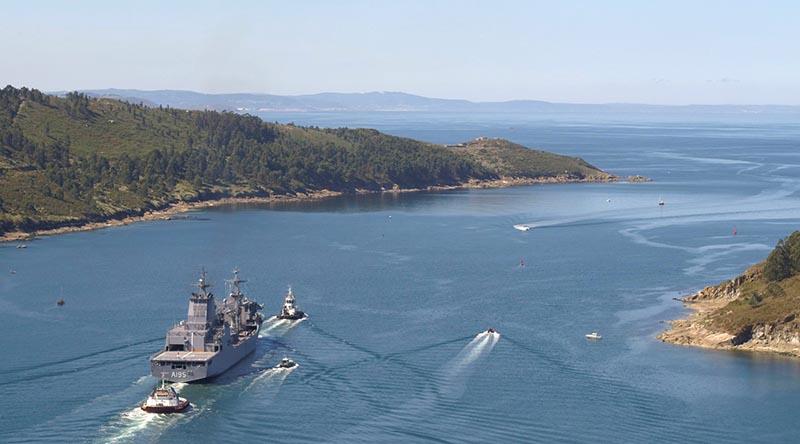NUSHIP Supply departs Ferrol, Spain. Navantia photo.