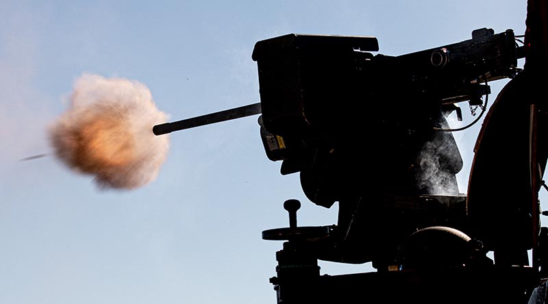 An EOS Mk2 remote weapon station firing at Wide Bay Training Area, Queensland. Photo by Trooper Jonathan Goedhart.
