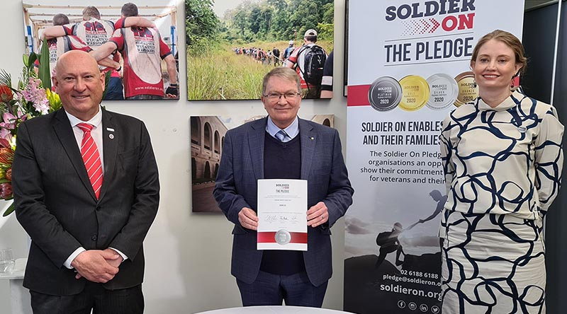 Soldier On CEO Ivan Slavich, Serco Defence Managing Director Clint Thomas and Soldier On Pathways Program Director Prue Slaughter at the Pledge signing ceremony today.