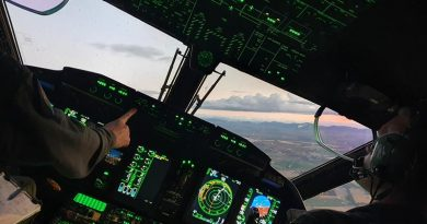 C-27J Spartan aircrew from No. 35 Squadron conduct an instrument approach into Tamworth, NSW, as part of a series of training missions during a Pilot Initial Qualification course.