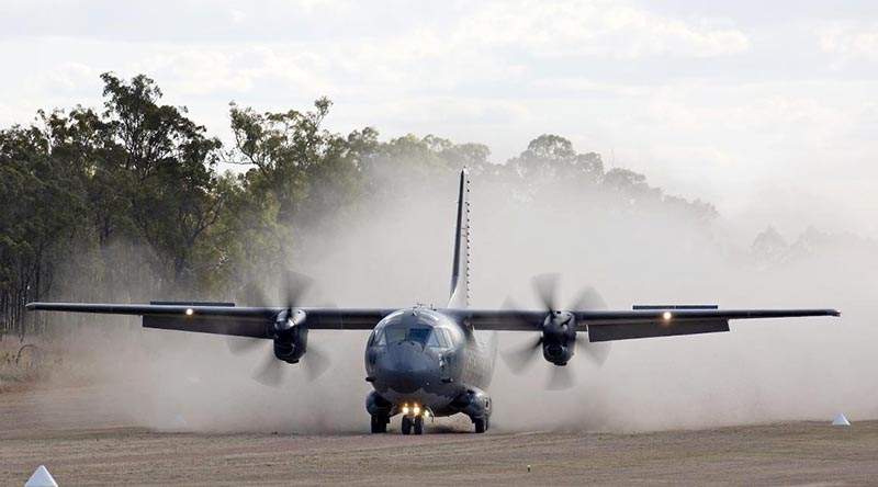 RAAF C-27J Spartan A34-007 lands at Benning Airfield, Queensland, during Exercise Ready Spartan Prove. Photo by Corporal Colin Dadd.