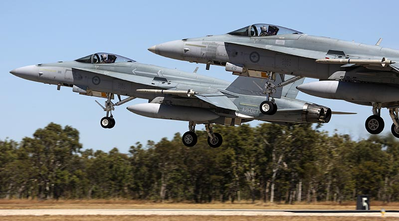 Two Royal Australian Air Force F/A-18 Hornets take off from RAAF Base Tindal during Exercise Diamond Storm 2017. Photo by Sergeant Andrew Eddie.