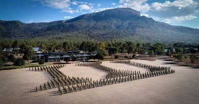 Soldiers and officers of the 3RAR Battlegroupstand ready on parade after an equipment inspection at Lavarack Barracks on 27 August 2020.Photo by Corporal Daniel Strutt.