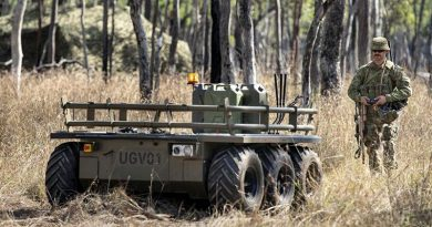 Corporal Aaron Le Jeune, of the 9th Force Support Battalion, trials an unmanned ground vehicle during Exercise Talisman Sabre 2019. Photo by Sergeant Jake Sims.