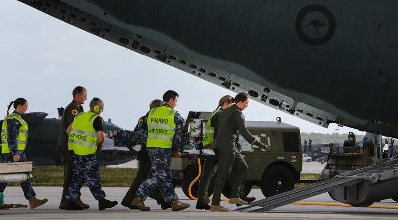 An aeromedical evacuation exercise out of Andersen Air Force Base, Guam, during Exercise Cope North in 2018. Photo by Corporal Glen McCarthy.