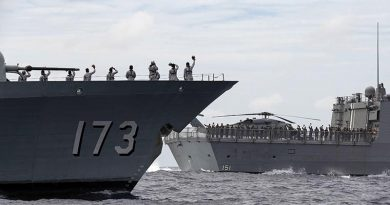 KD Perak, of the Royal Malaysian Navy, left, with HMAS Arunta during a passage exercise on the East Asia Deployment. Photo: Leading Seaman Jarrod Mulvihill