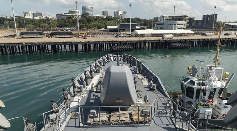 HMAS Arunta departs Darwin for the six week East-Asian Deployment. Photo by Leading Seaman Jarrod Mulvihill.