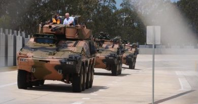 Prime Minister Scott Morrison in a Boxer combat reconnaissance vehicle at the Rheinmetall Military Vehicle Centre of Excellence (MILVEHCOE) in Ipswich, Queensland. Photo from the PM's Facebook page.