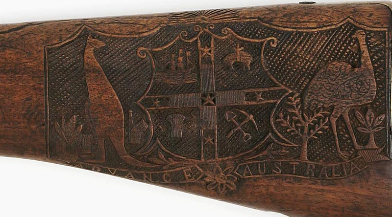 View and rotate this Lee Enfield rifle butstock carved by Farrier Sergeant Percy King of the 5th Victorian Mounted Rifles during the Boer War, in the Australian War Memorial's on-line 3D Treasures exhibition. Image AWM REL/15154.