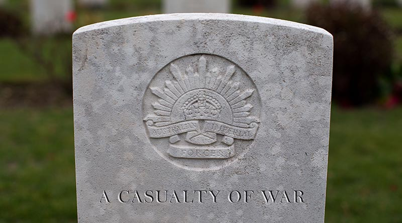 A headstone of an unknown Australian soldier. Photo by Corporal Jake Sims.