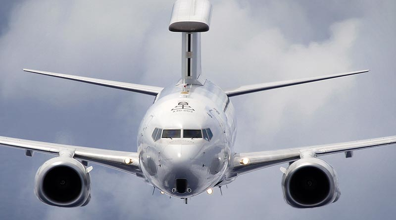 A No. 2 Squadron E-7A Wedgetail on a training sortie. Photo by Corporal Shannon McCarthy.