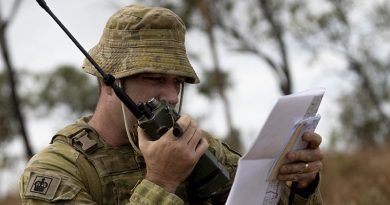 Australian Army Warrant Officer Class Two Matthew Hazelton, from the 4th Regiment, Royal Australian Artillery, communicates with a Royal Australian Air Force, F/A-18F Super Hornet pilot during Exercise Nigrum Pugio at Townsville Field Training Area on 14 October 2020. Photo by Captain Lily Charles.