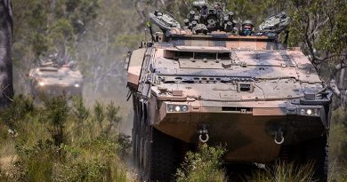 Soldiers from the 2nd/14th Light Horse Regiment (Queensland Mounted Infantry) conduct cross-country training in the new Boxer CRV at Wide Bay Training Area, Queensland. Photo by Trooper Jonathan Goedhart.