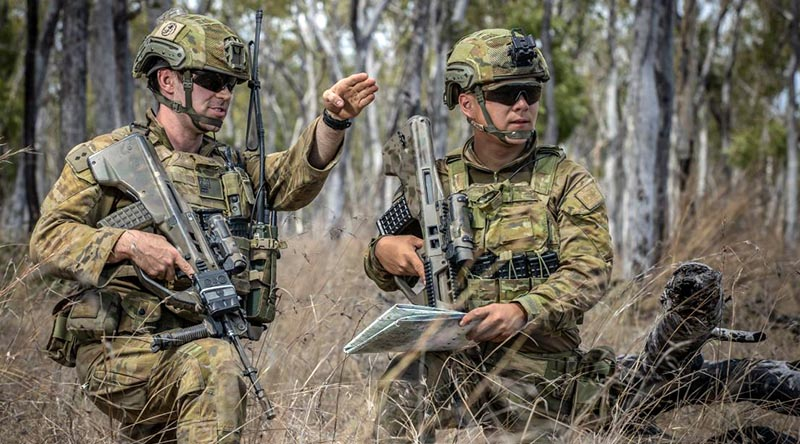 ADF Gap Year officer Lieutenant Gabriel Sohn, right, of 6 RAR, with Lieutenant Samuel Jenner during an exercise at Shoalwater Bay, Queensland. Photo by Trooper Jonathan Goedhart.