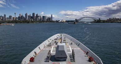 HMAS Hobart returns to her home port of Fleet Base East in Sydney after the successful completion of Regional Presence Deployment 2020. Photo by Leading Seaman Christopher Szumlanski.