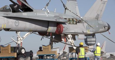 F/A-18A Hornet A21-022 is lifted onto stands at RAAF Base Williamtown in preparation for its move to the Australian War Memorial, Canberra. Photo by Sergeant Brett Sherriff.