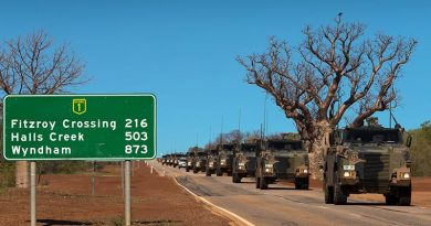 Australian Army Bushmaster protected mobility vehicles from Darwin-based 1st Brigade drive along the Great Northern Highway during Exercise Northern Shield 2016. Photo by Corporal David Said.
