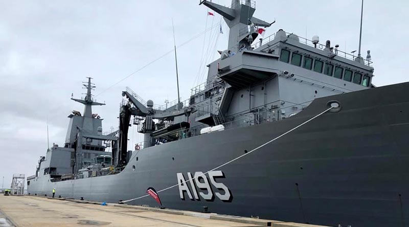 After four weeks at sea, NUSHIP Supply arrived at Fleet Base West on Friday 2 October 2020 to commence her Australian fit-out. ADF photo.
