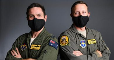Royal Australian Air Force Maj. (sic) Christopher Baker, 61st Fighter Squadron instructor pilot, and U.S. Air Force Lt. Col. Tom Hayes, 61st FS commander, at Luke Air Force Base, Arizona. US Air Force photo by Airman 1st Class Brooke Moeder.