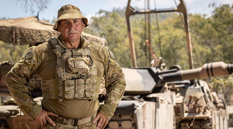 WO2 Terry Lemmon, 2/14LHR (QMI), at Shoalwater Bay Training Area – having served his maximum allowed time in the British Army, came to Australia in his early 40s to continue his military career. Photo by Trooper Jonathan Goedhart.