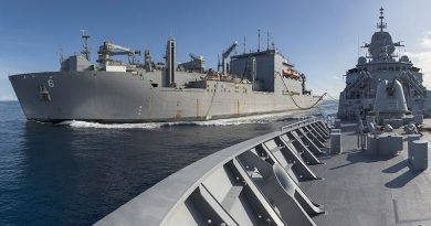 HMAS Arunta conducts a replenishment at sea with USNS Amelia Earhart. Photo by Leading Seaman Jarrod Mulvihill.