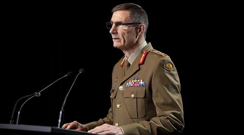 Chief of the Defence Force General Angus Campbell announces the findings of the Inspector-General of the Australian Defence Force Afghanistan Inquiry at Russell Offices in Canberra. Photo by Jay Cronan.
