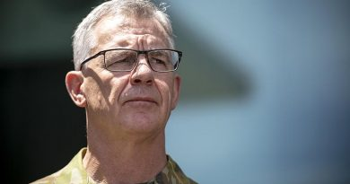 Chief of Army Lieutenat General Rick Burr fielding media questions at Russell Offices, Canberra. Photo by Lauren Larking.