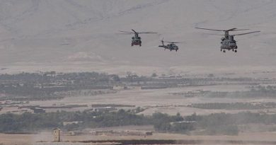 Coalition helicopter movements in Tarin Kowt, Afghanistan, October 2006. Photo by Brian Hartigan.