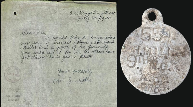 Desperate letter from a grieving mother – and her son's dogtag.