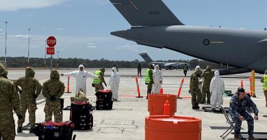 The decontamination lane during Exercise Toxic Safari at RAAF Base Amberley.