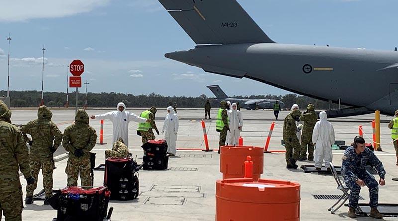 The decontamination lane during Exercise Toxic Safari at RAAF Base Amberley.