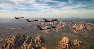 Two USAF and two RAAF F-35A Lightning II aircraft assigned to the 61st Fighter Squadron at Luke Air Force Base, Arizona, fly in formation during a commemoration flight. Photo by USAF Staff Sergeant Alexander Cook.