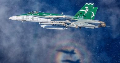 F/A-18A Hornet A21-39 from No. 77 Squadron off the coast of Newcastle, NSW. Photo by Sergeant David Gibbs.