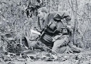 5RAR Support Company Reconnaissance Platoon Commander Michael von Berg about to call in artillery during an enemy contact on Operation Renmark in the Long Hai Mountains in Phuoc Tuy province, Vietnam, in 1967.