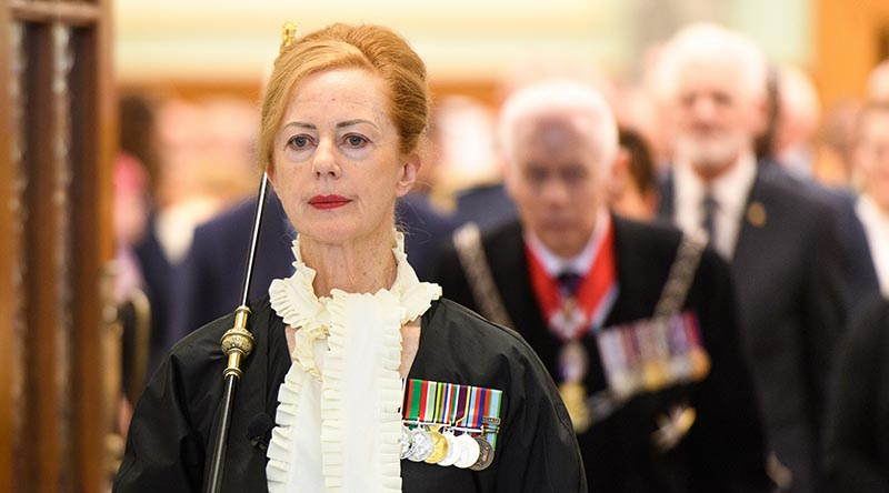 New Zealand's first female Usher of the Black Rod Sandra McKie at the State Opening of Parliament in Wellington today. Photo by Mark Tantrum – marktantrum.com