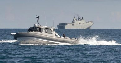Survey boat Polaris was launched from HMAS Adelaide for the first time during Exercise Sea Wader 2020. Photo by Able Seaman Sittichai Sakonpoonpol.
