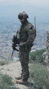 Private Arlen Treston, 2RAR, on Radar Mountain overlooking Kabul, Afghanistan, while deployed with FPE-13.
