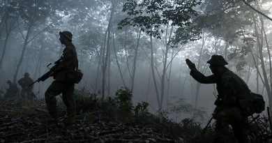 Australian Army soldiers advance during an 'attack' as part of Exercise Haringaroo near Kota Bharu, Malaysia. Photo by Sergeant Janine Fabre.