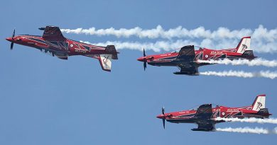 The RAAF Roulettes in their PC-21s during the new aircrafts' first public display, at RAAF Base Point Cook, Victoria. Photo by Petty Officer Nina Fogliani.