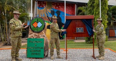 Commander Regional Force Surveillance Group Colonel John Papalitsas, Commander Forces Command Major General Mathew Pearse and Commander 2nd Division Major General Kathryn Campbell officially open the Regional Force Surveillance Group Training and Education Centre on Defence Establishment Berrimah, Northern Territory. Photo by Corporal Rodrigo Villablanca.