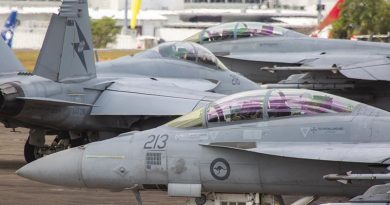 RAAF F/A-18F Super Hornets, from No. 1 Squadron, line up for a sortie out of RAAF Base Darwin during Exercise Diamond Storm. Photo by Corporal Craig Barrett.