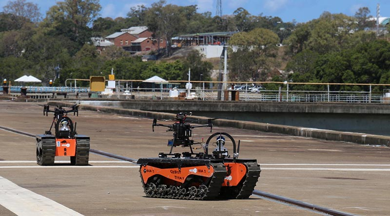 Titan1 unmanned ground vehicles used during Exercise Genesis as part of the Royal Australian Navy's Autonomous Warrior 2020-4. Unknown photographer.