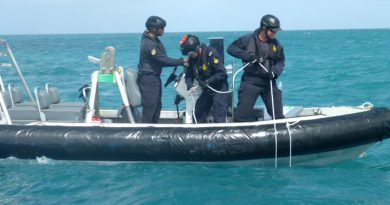 Maritime Border Command personnel deploy one of five hydrophones in the Torres Strait to detect illegal boat movements. ABF photo.