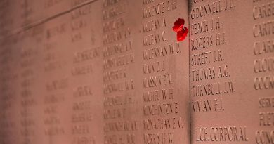 The Wall of Remembrance at the Australian National Memorial outside Villers-Bretonneux in France. Photo by Petty Officer Paul Berry.