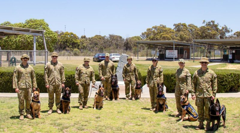 The Canine Service Medal Award ceremony for military working dogs at RAAF Base Pearce, Western Australia.